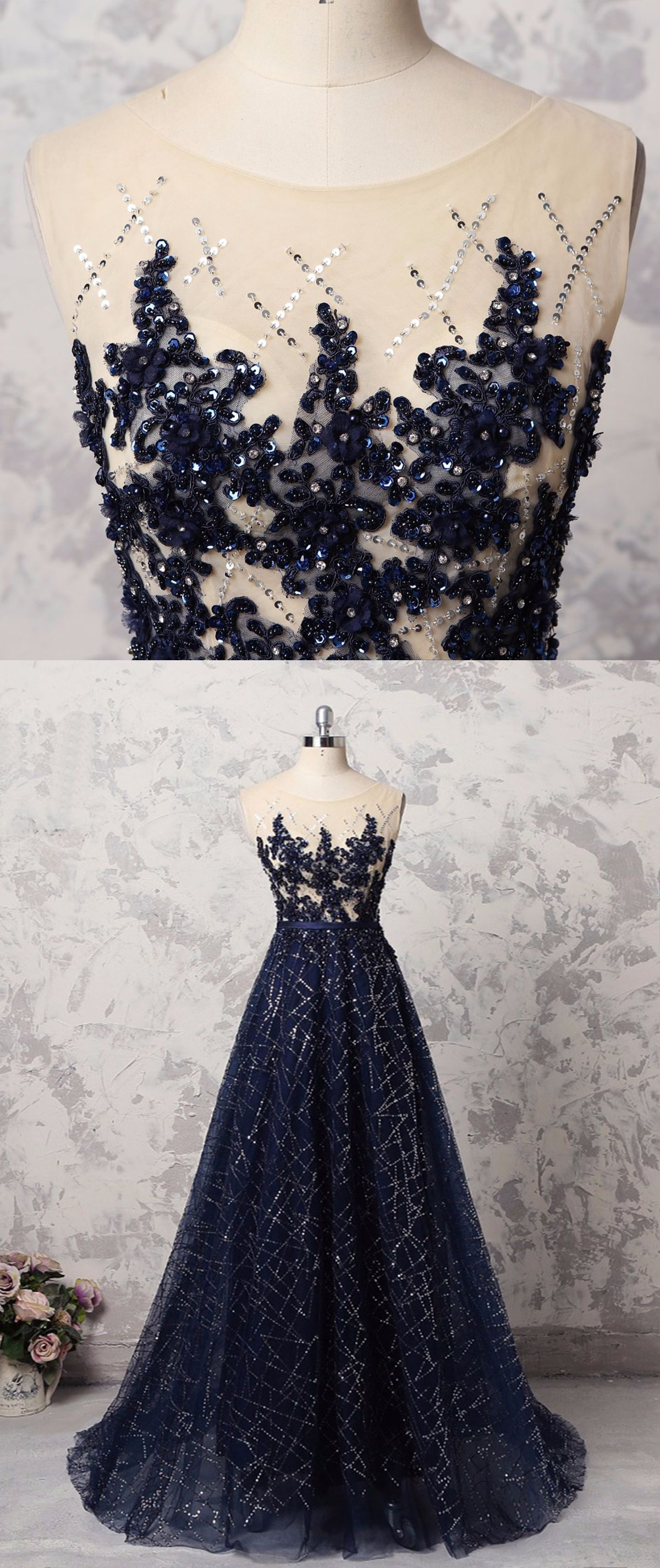 Navy blue sequins tulle long halter formal prom dress with appliques