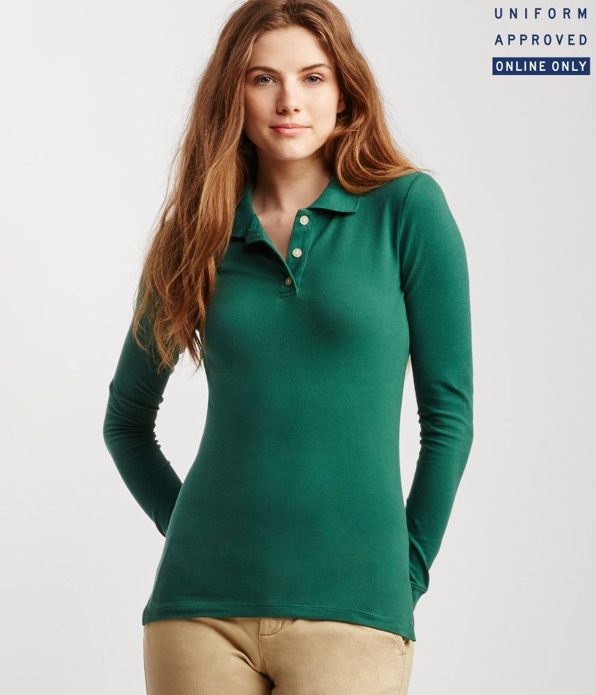 c083ceb5 uniform polo shirts for women | ... about aeropostale womens long sleeve  solid uniform piqu polo shirt