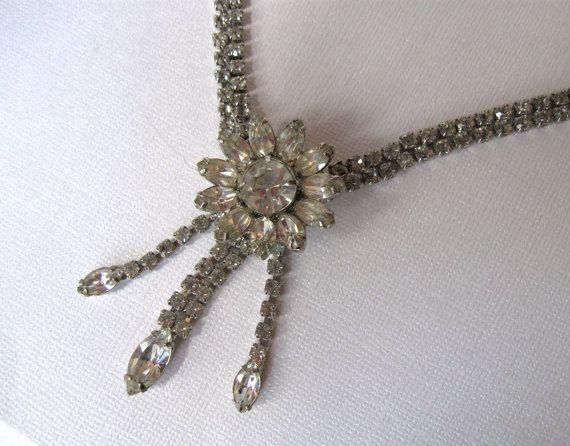 Rhinestone Daisy Flower Pendant Necklace 1940s by OurBoudoir, $78.00