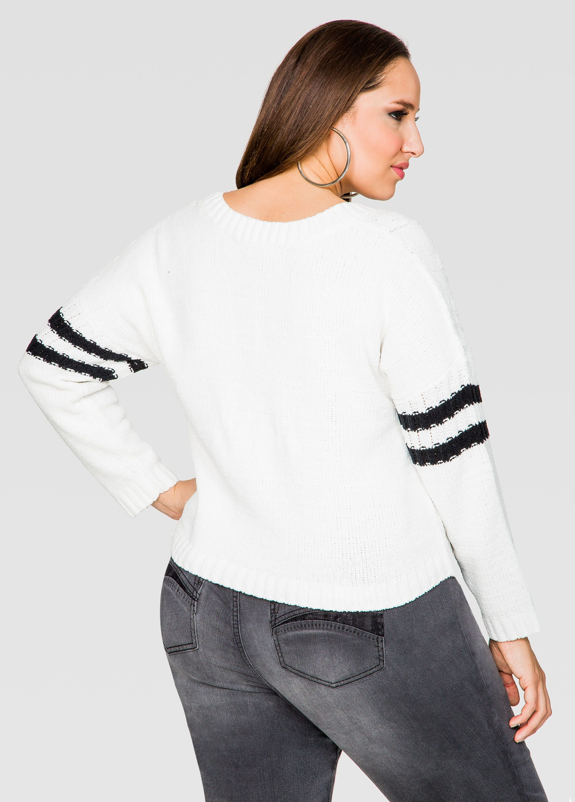 593bdbbebb0 Varsity Stripe Crop Top Sweater - Ashley Stewart. Varsity Stripe Crop Top  Sweater - Ashley Stewart Fashionable Plus Size Clothing ...