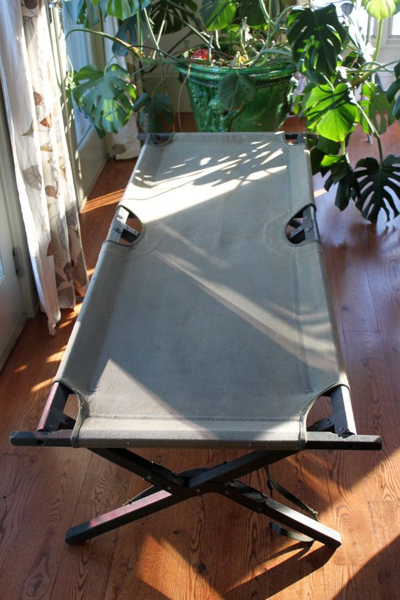 Vintage Fold Up, Portable Army Cot In Sturdy Condition. Wooden Frame  Painted Green And