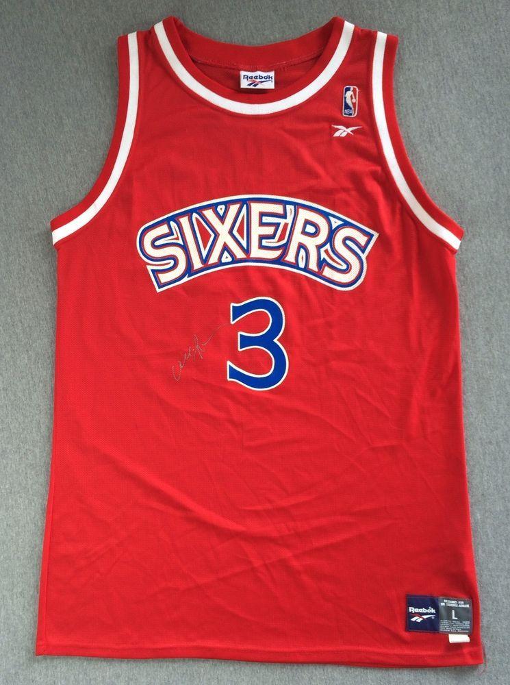 2fb20198b Vintage SIXERS Jersey Rookie Allen IVERSON  3 Autographed 90s Reebok USA  Men L