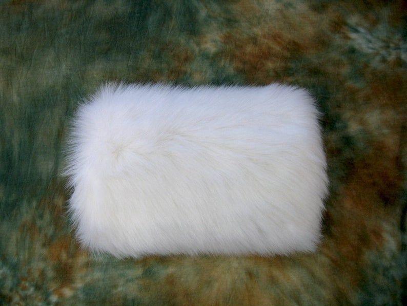 Women Faux Fur Muff Girls Winter Bridal Hand Warming Grey Black Wedding Gloves