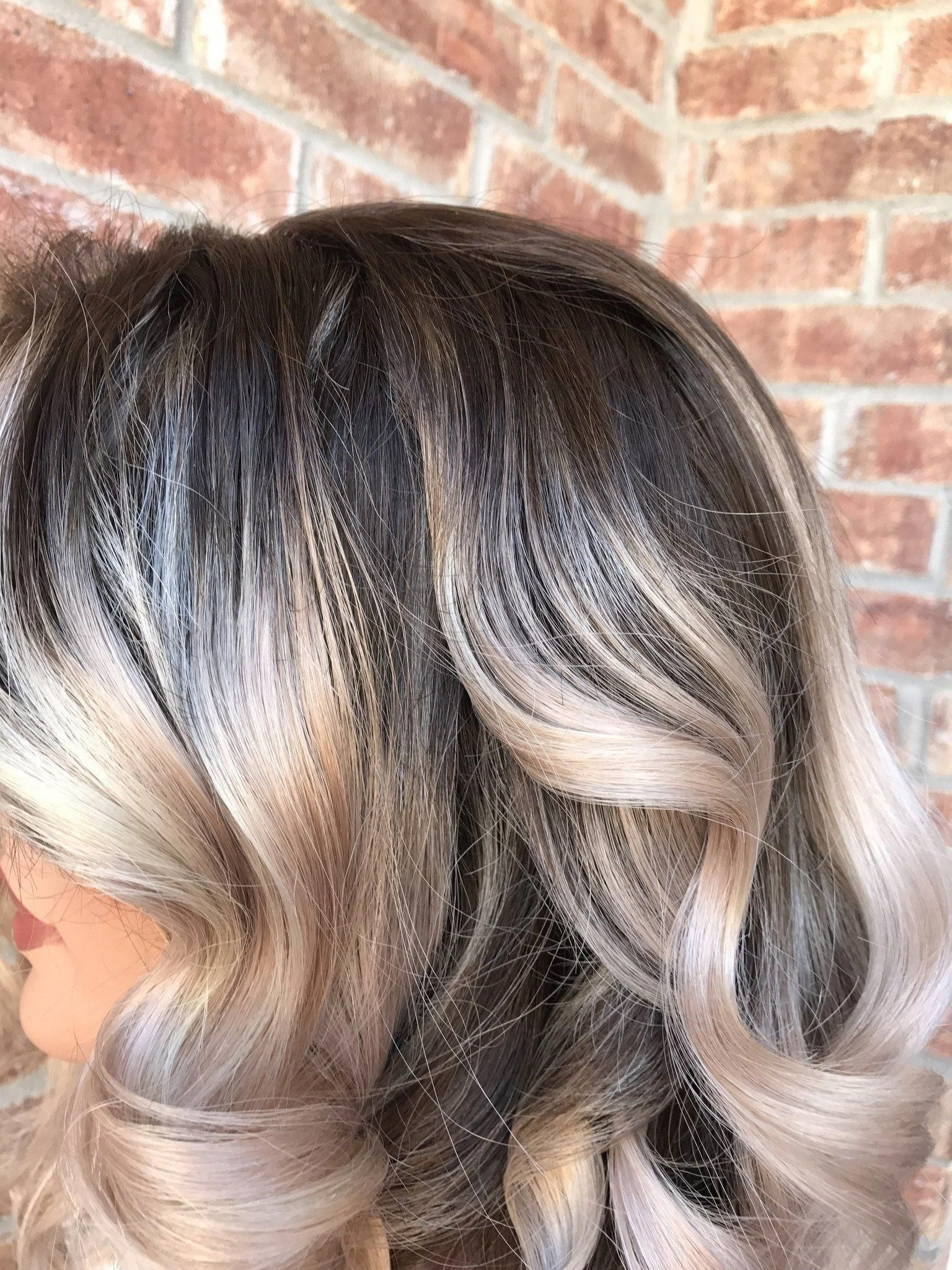 Ash Blonde Balayage Ombre Human Hair Multi Parting Full Lace Wig