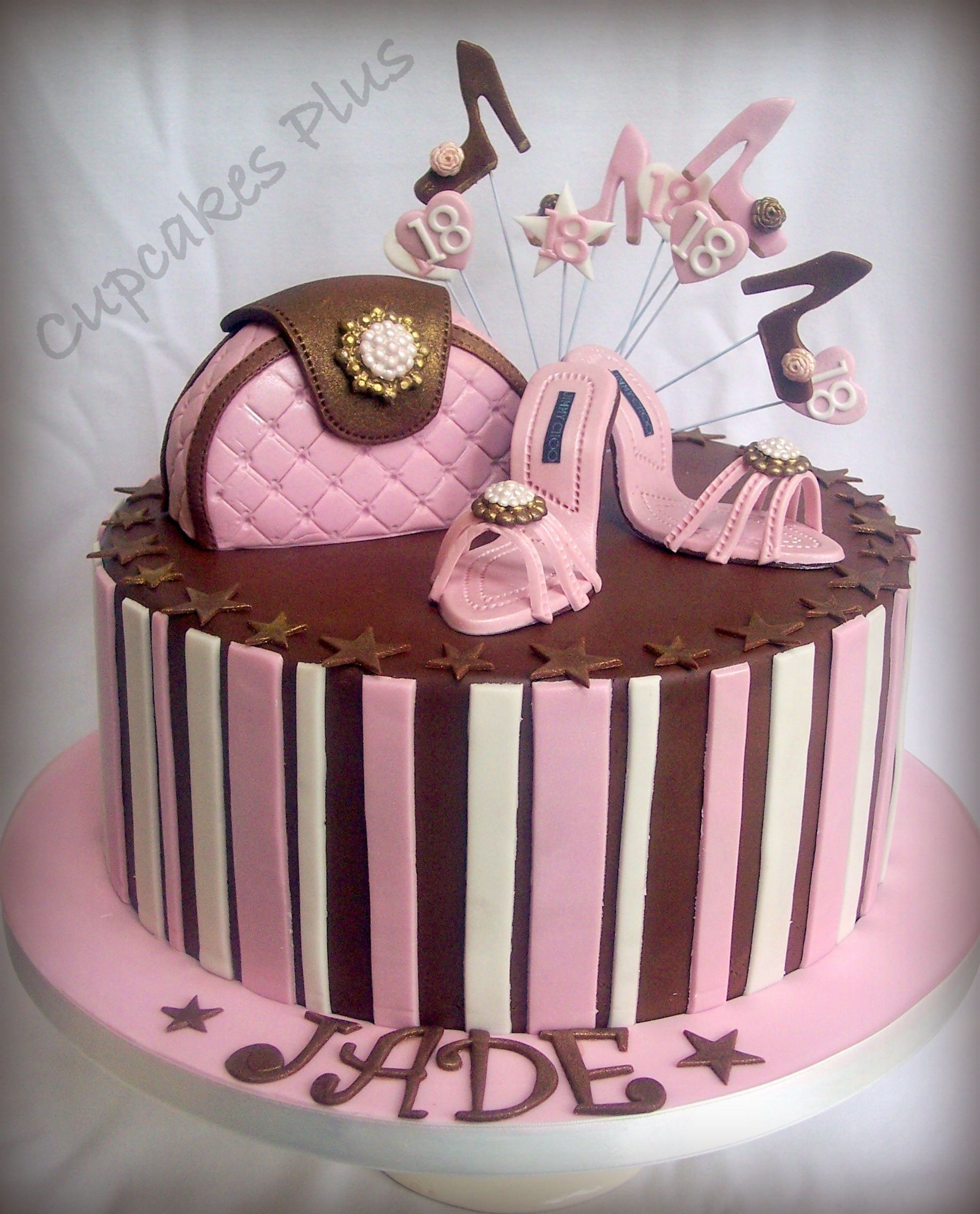 Shoe And Handbag Themed Birthday Cake Chocolate Sponge Covered With Flavoured Fondant