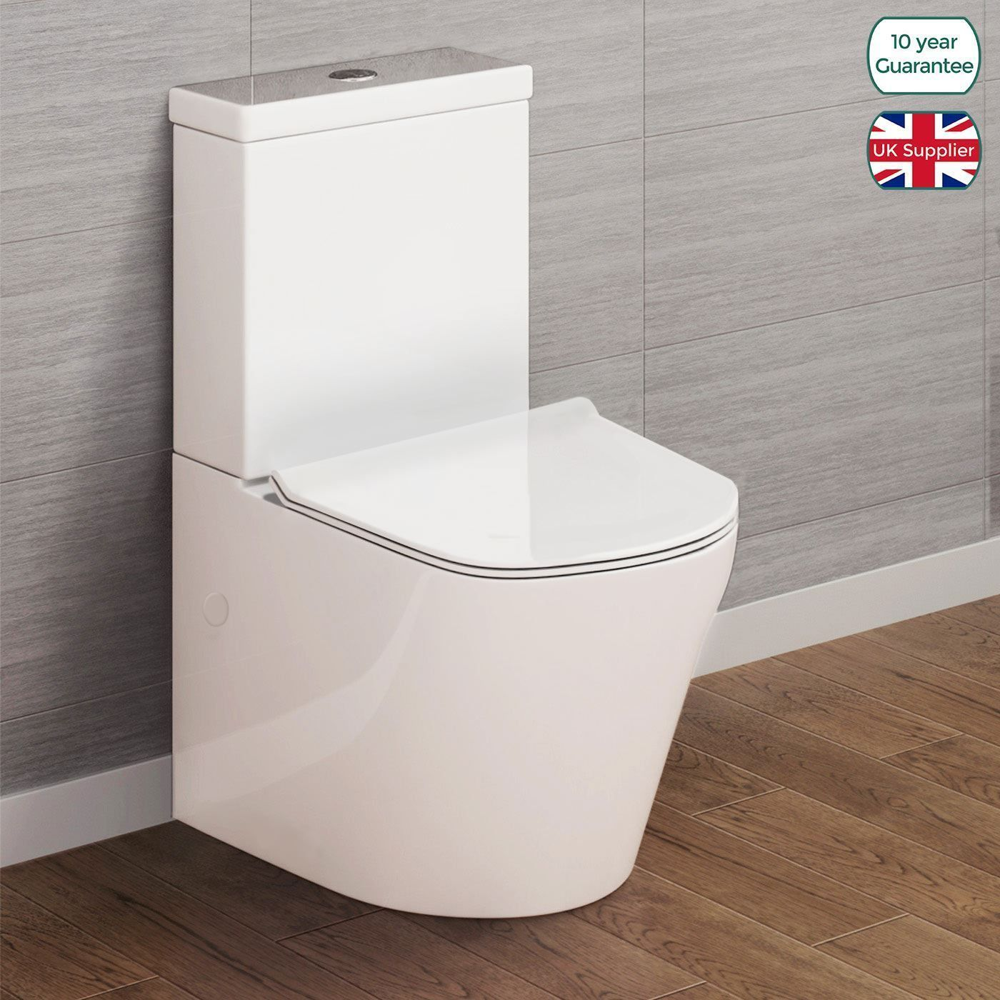 Oakham White Close Coupled Bathroom Toilet Wc Pan Seat Ceramic