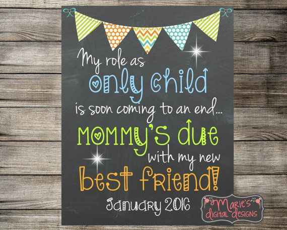 Baby On The Way Sign Pink Blue Digital or Printed Big Sister To Be Announcement Mommy Due Only Child Expiring Pregnancy Announcement Sign