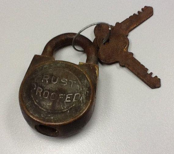 Vintage lock working with keys by TimePassedTreasures on Etsy, $15.00