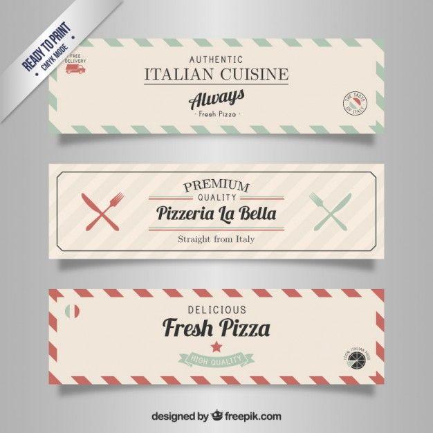Italian restaurant banners in retro style Free Vector Invitations - fresh invitation banner vector