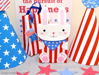 4th of July party bunny favor bags: I just did two of them. They're so cute!! They will be su much fun at my mom's birthday party!!!
