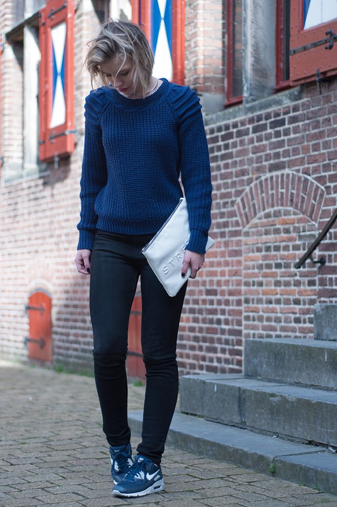 size 40 3582b 4505b ... max sneakers girl where pants mens shoes; red reiding hood fashion  blogger wearing oversized blue ottoman sweater nelly trend navy blue nike a