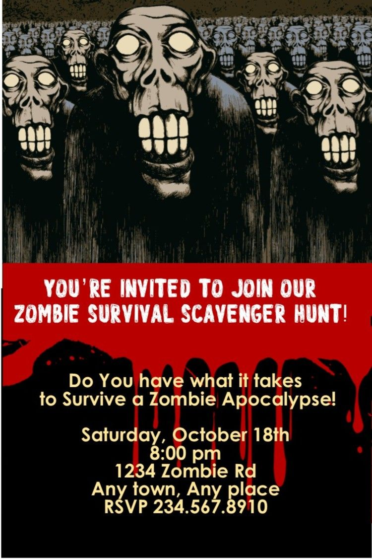 zombie apocalypse game - printable scavenger hunt for your zombie, Birthday invitations