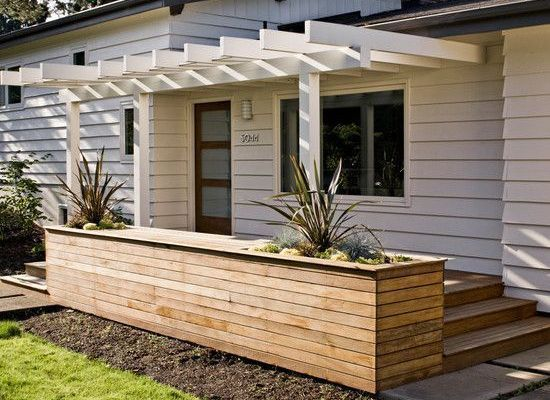 50elegantfrontyarddeckdesignideas5b56052332f62 is part of Front porch pergola, Modern pergola, House exterior, Ranch style homes, Backyard garden landscape, Pergola - 50+ Elegant Front Yard Deck Design Ideas