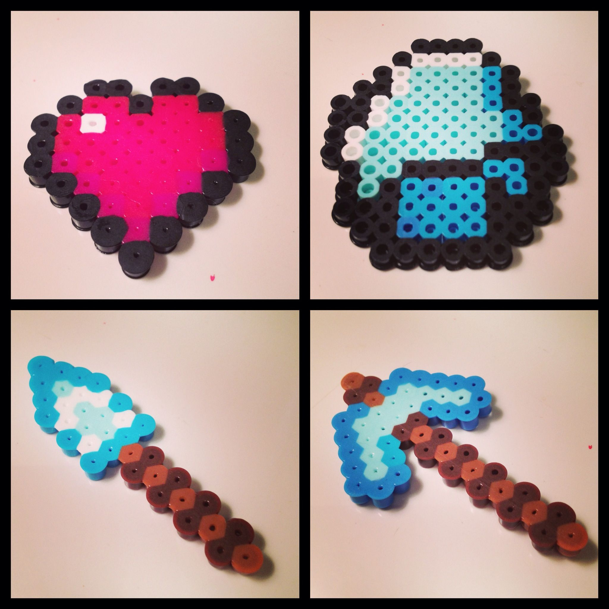 Minecraft perler beads, shovel, axe, diamond, heart life