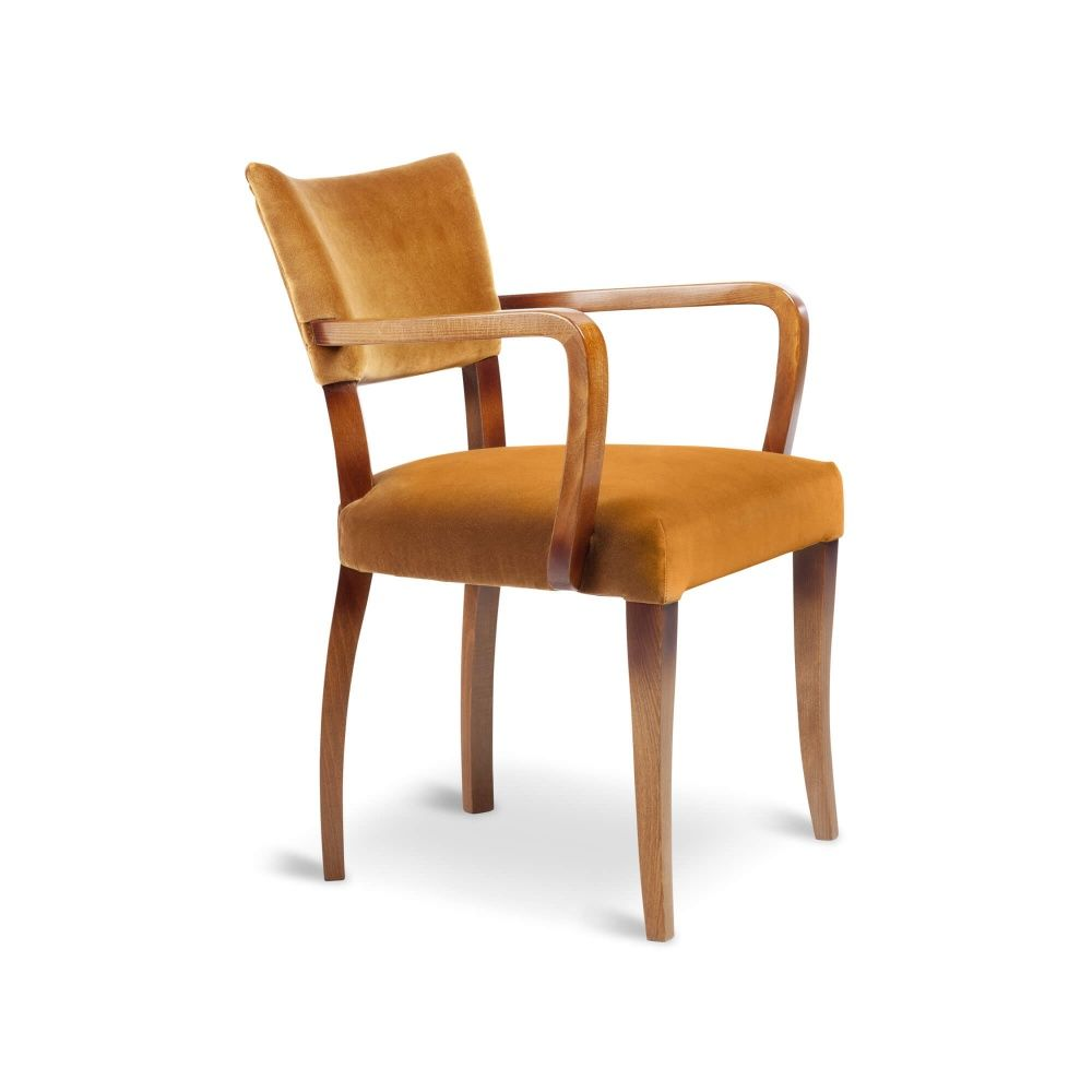 Molina Dining Chair With Arms Ochre Velvet Dark Wood Dining