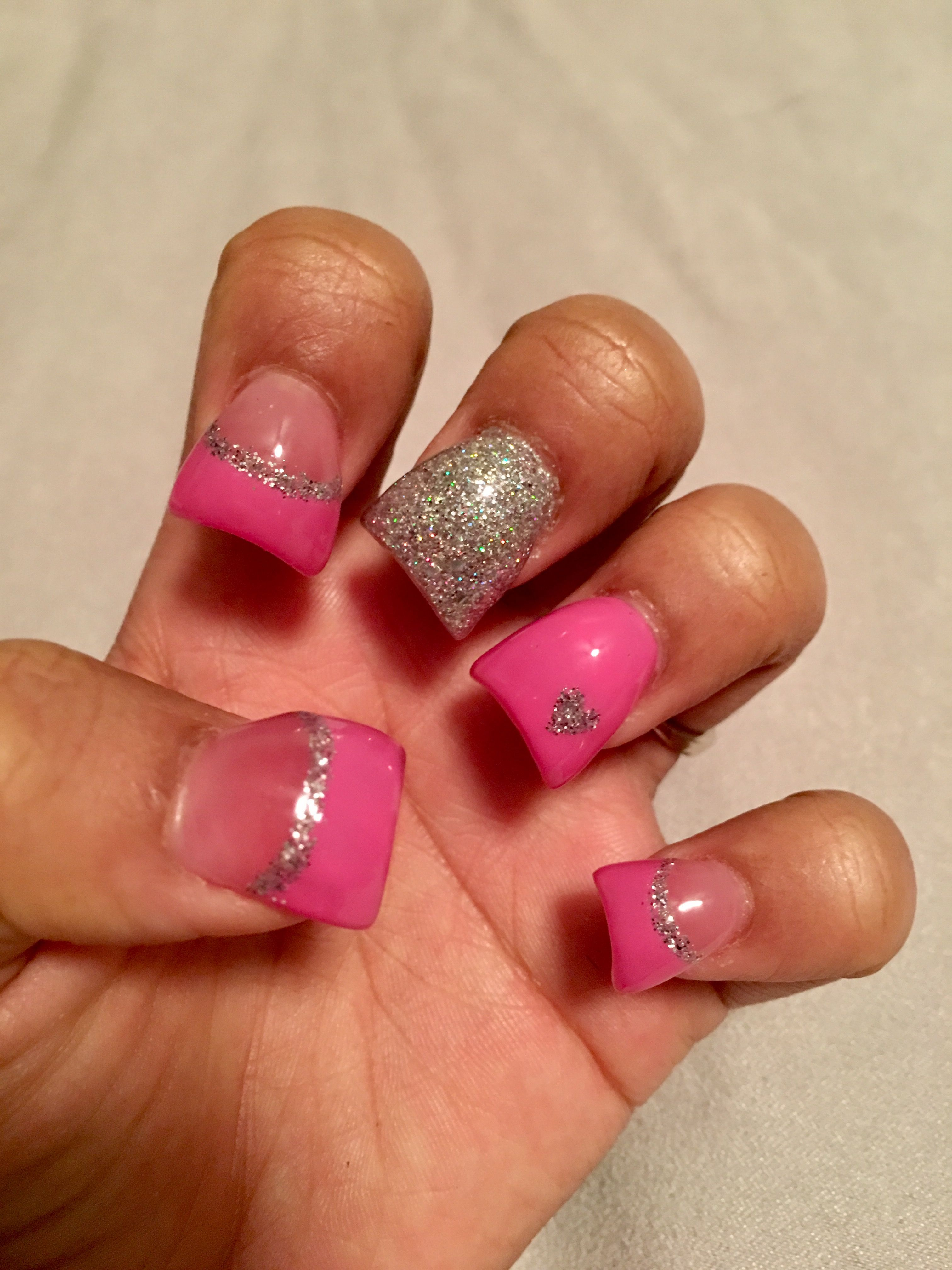 Pink With Glitter Heart Acrylic Nails