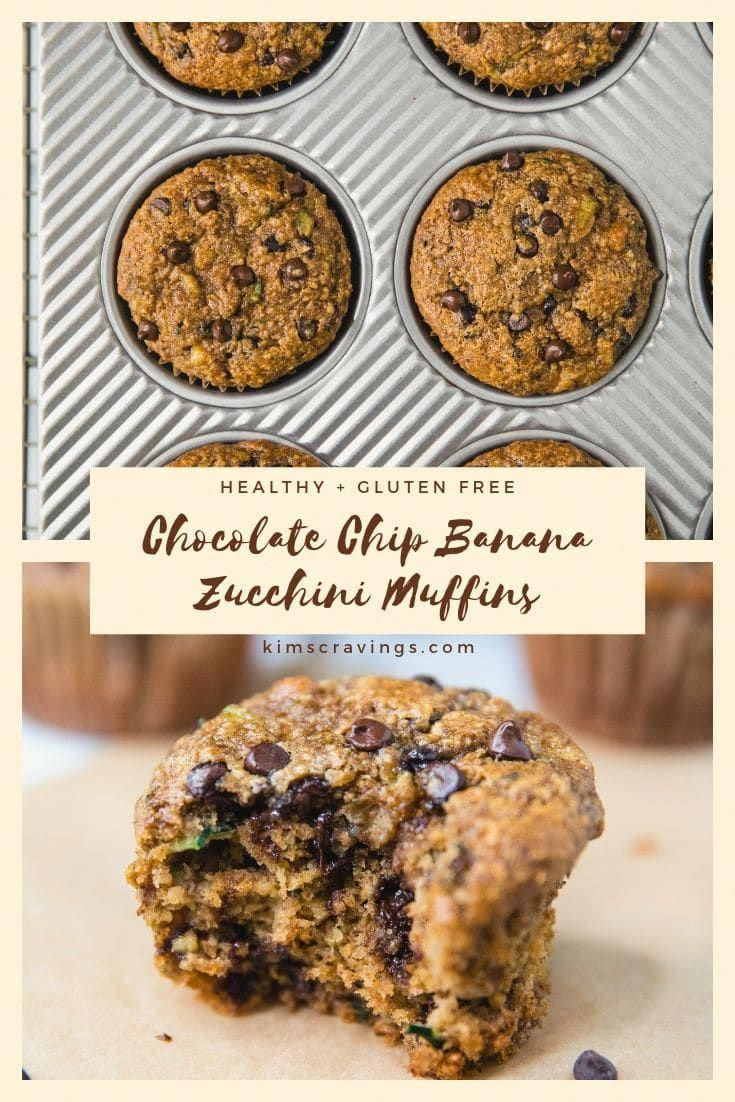 Flourless Healthy Chocolate Chip Banana Zucchini Muffinsthat are so tender and flavorful youd neverknow they were made without flour oil or refined sugar Glut...
