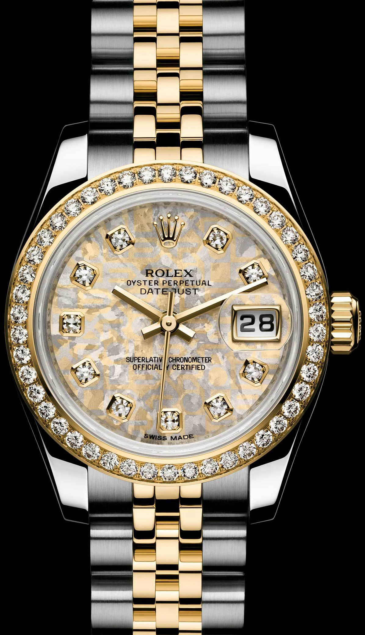 ef6ae6f1291 ROLEX LADY-DATEJUST  GOLD CRYSTALS DIAL - ROLEX Timeless Luxury Watches More