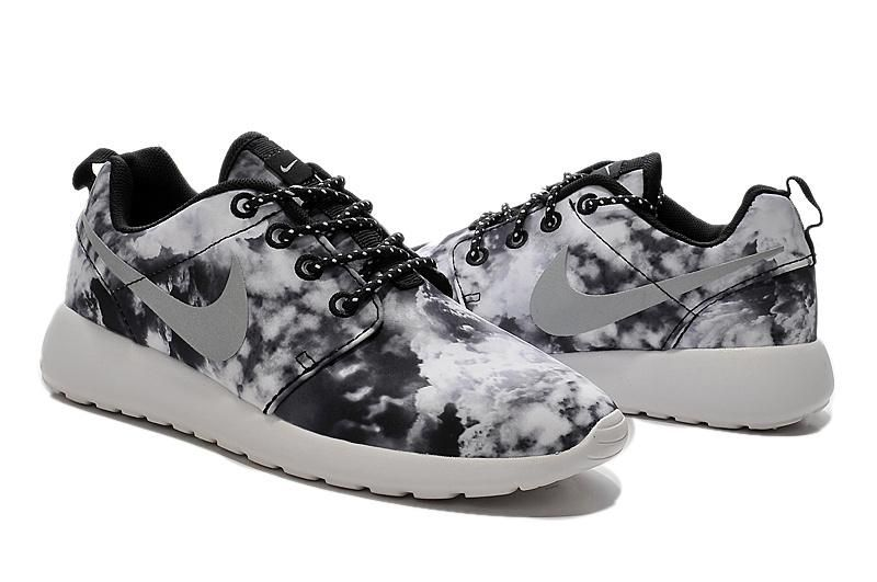 2015 Nike Roshe Run Shoes Print Cloud Collection Black White