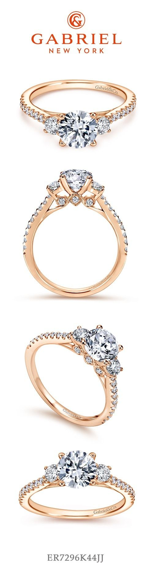 Three stones round cut rose gold engagement ring engagement