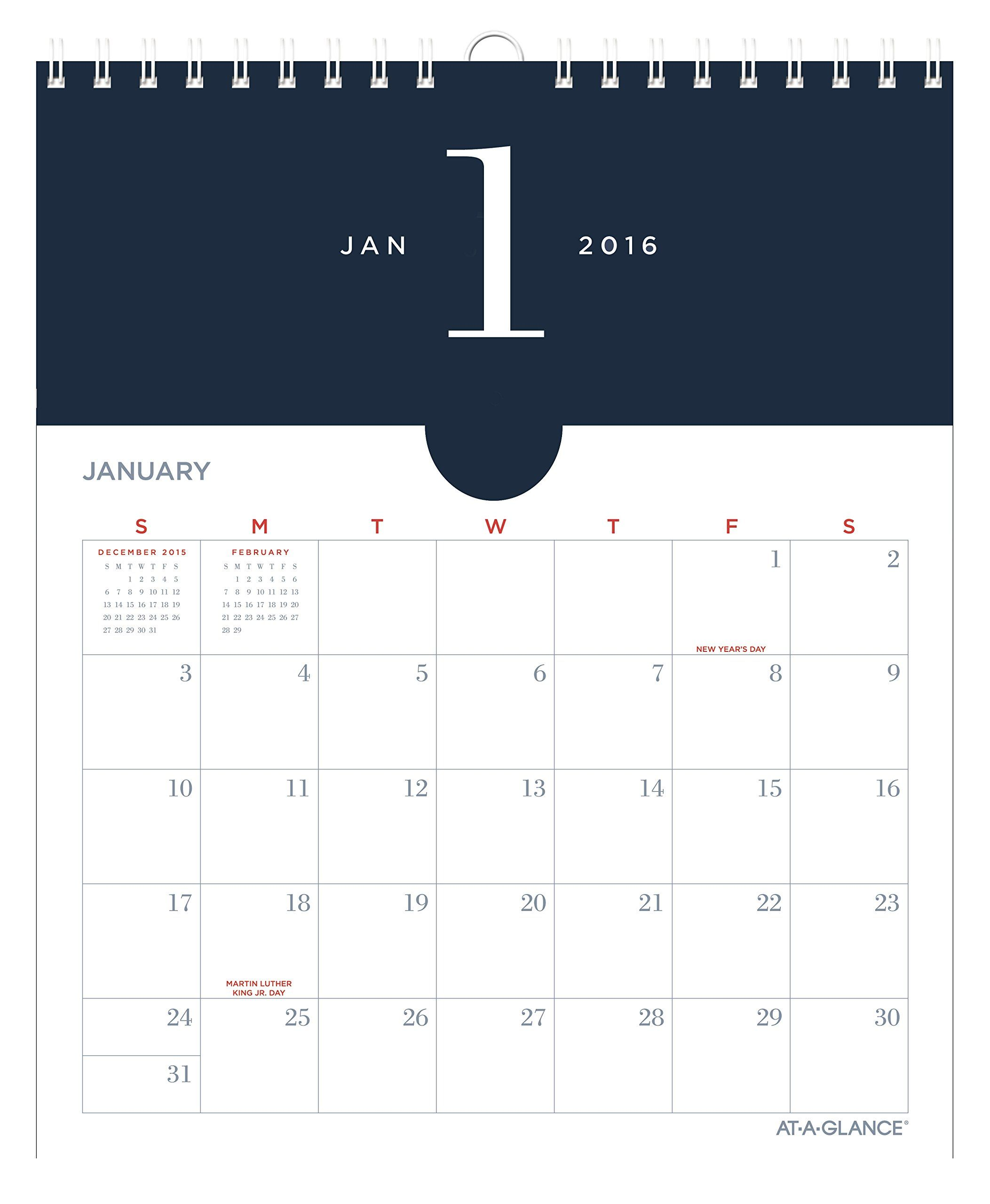 At-A-Glance Monthly Wall Pocket Calendar 2016, Collection, Wire ...