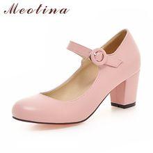 Meotina Mujeres Zapatos Mary Jane Señoras Tacones Altos Zapatos Blancos de  La Boda Talón grueso Bombas ae471b4de08a