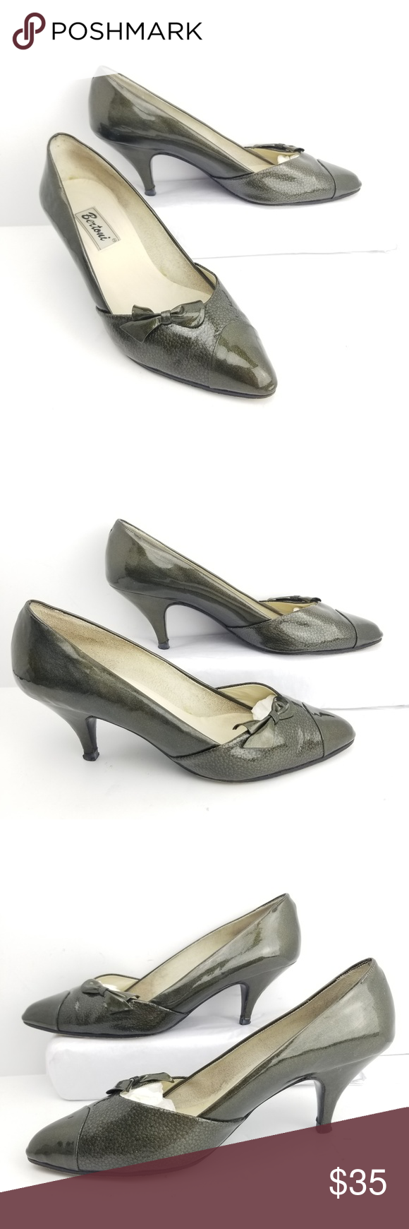 Bertoni Kitten Heels Size 8 Green Cap Toe Pumps Heel 2 5 Width 3 Length 10 They Size Is Worn Off I Wear A 9 And These Are Ab Kitten Heels Heels Pumps Heels