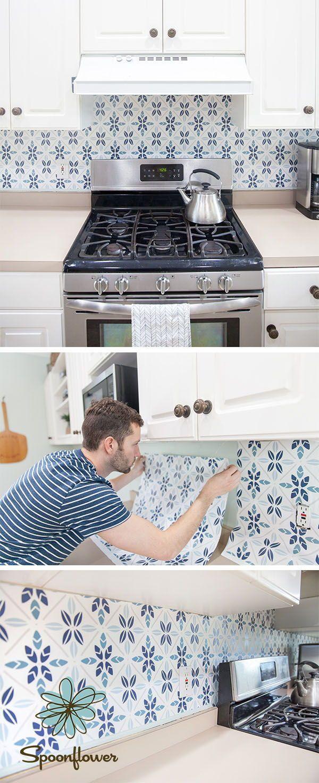 Easy Faux Tile Backsplash with EcoFriendly Wallpaper