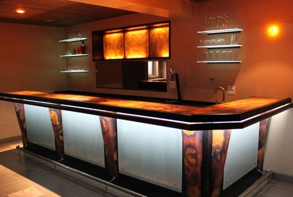 Bar Top Ideas Basement Delectable Love The Underlights  Copper Bars  Pinterest  Copper The O Design Ideas