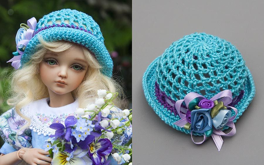 Crocheted Hats. Free pattern from AntiqueLilac. Head size 6.7 to 6.9 inches. #dollhats