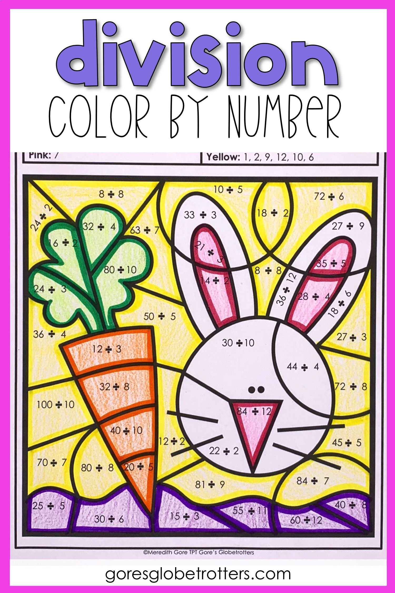 Spring Math Color By Number Differentiated Division