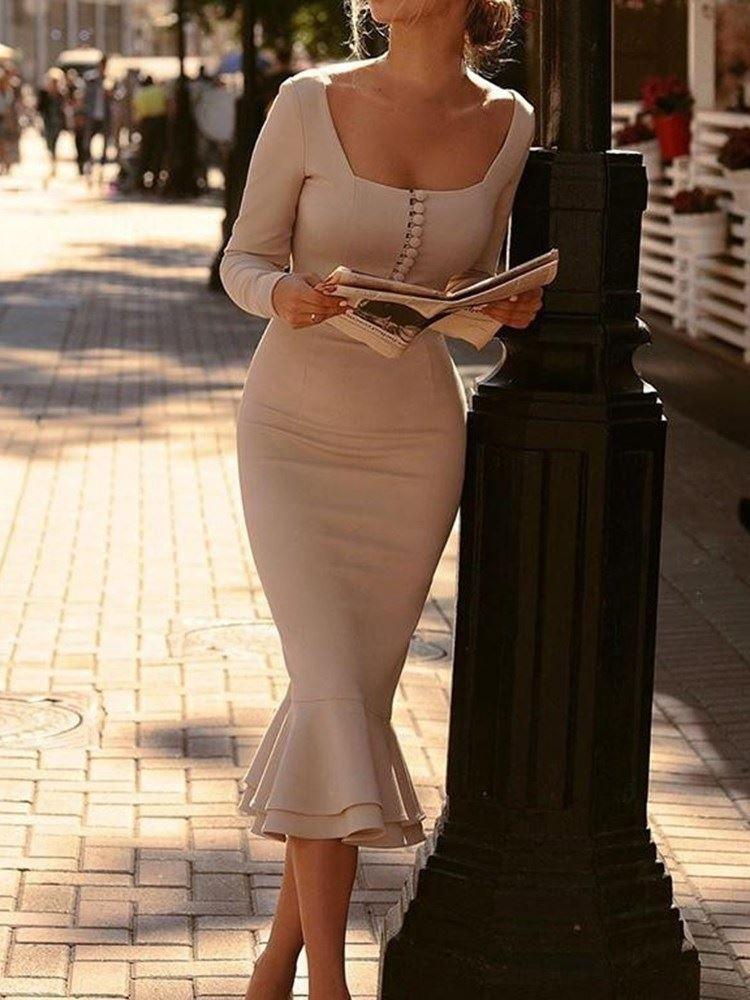 tidebuy / Long Sleeve Falbala Square Neck Plain Mid Waist Womens Dress