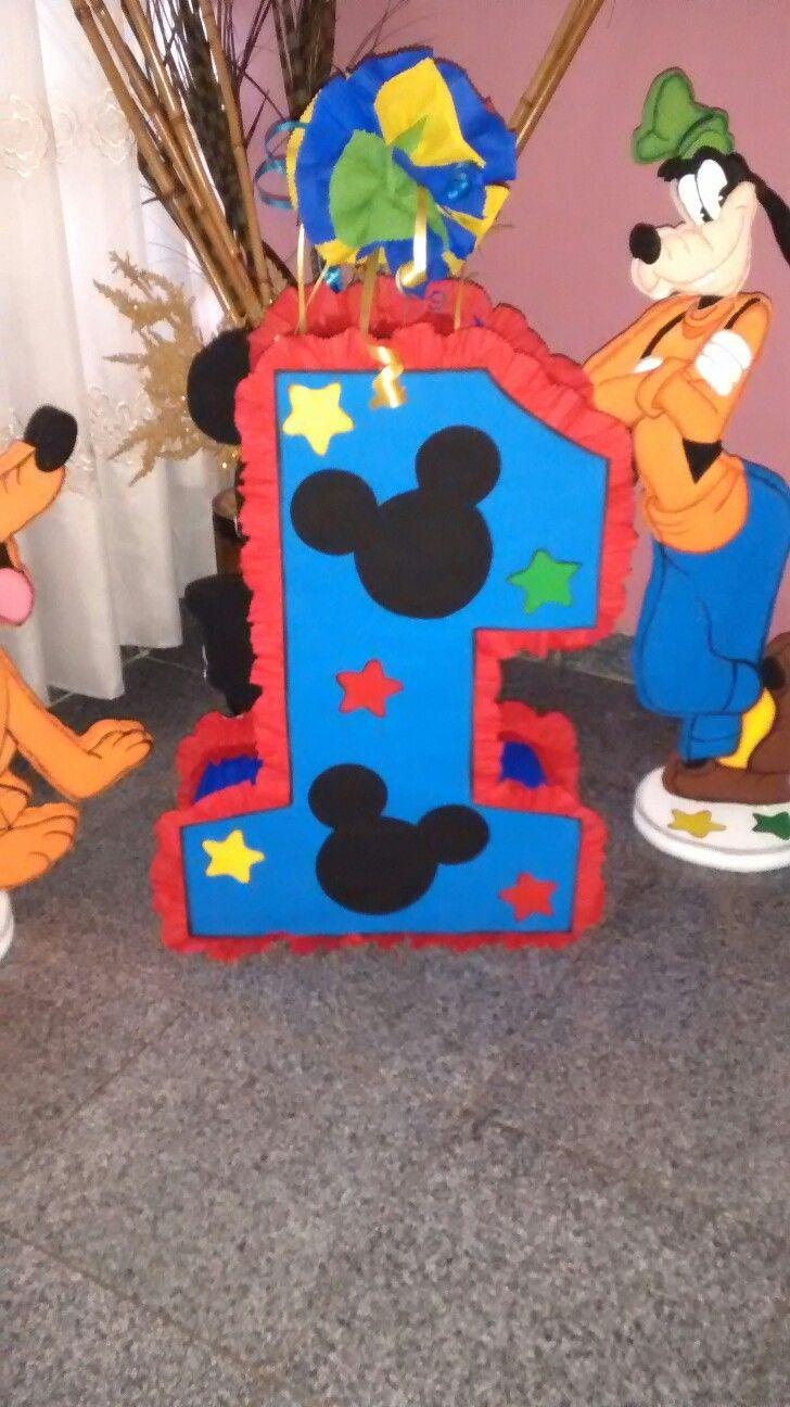 Parte de atrás piñata de.numero uno con Mickey Mouse | Piñatas ...