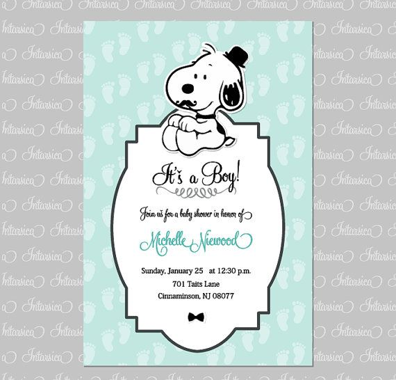 Baby Shower Snoopy Invitation Boy Custom Order By Intarsicadesign