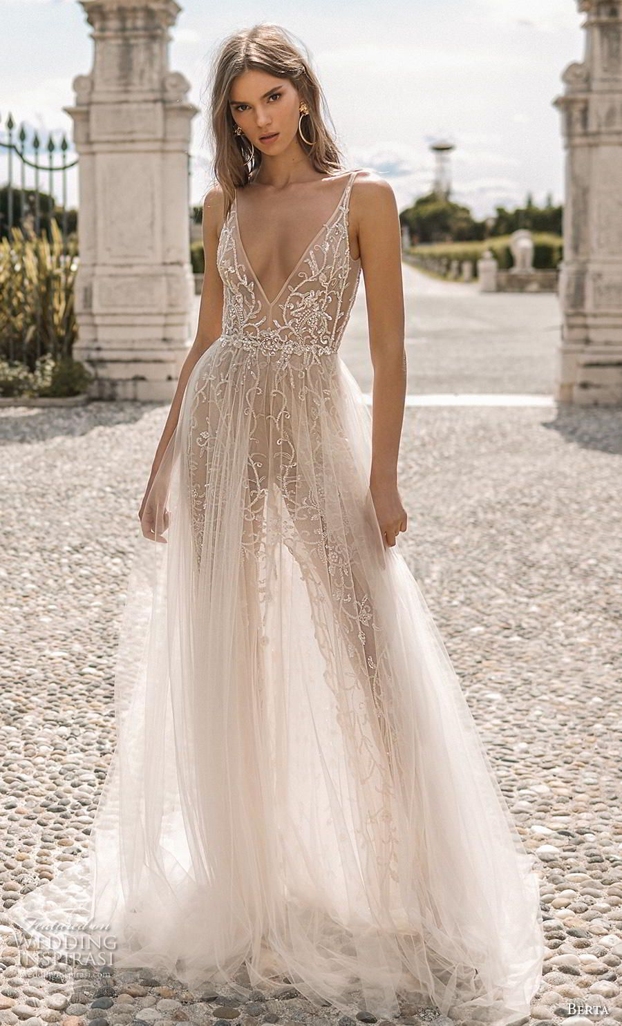 2c68ae055f53 berta 2019 privee bridal sleeveless deep v neck full embellishment sexy  glitzy glamorous soft a line