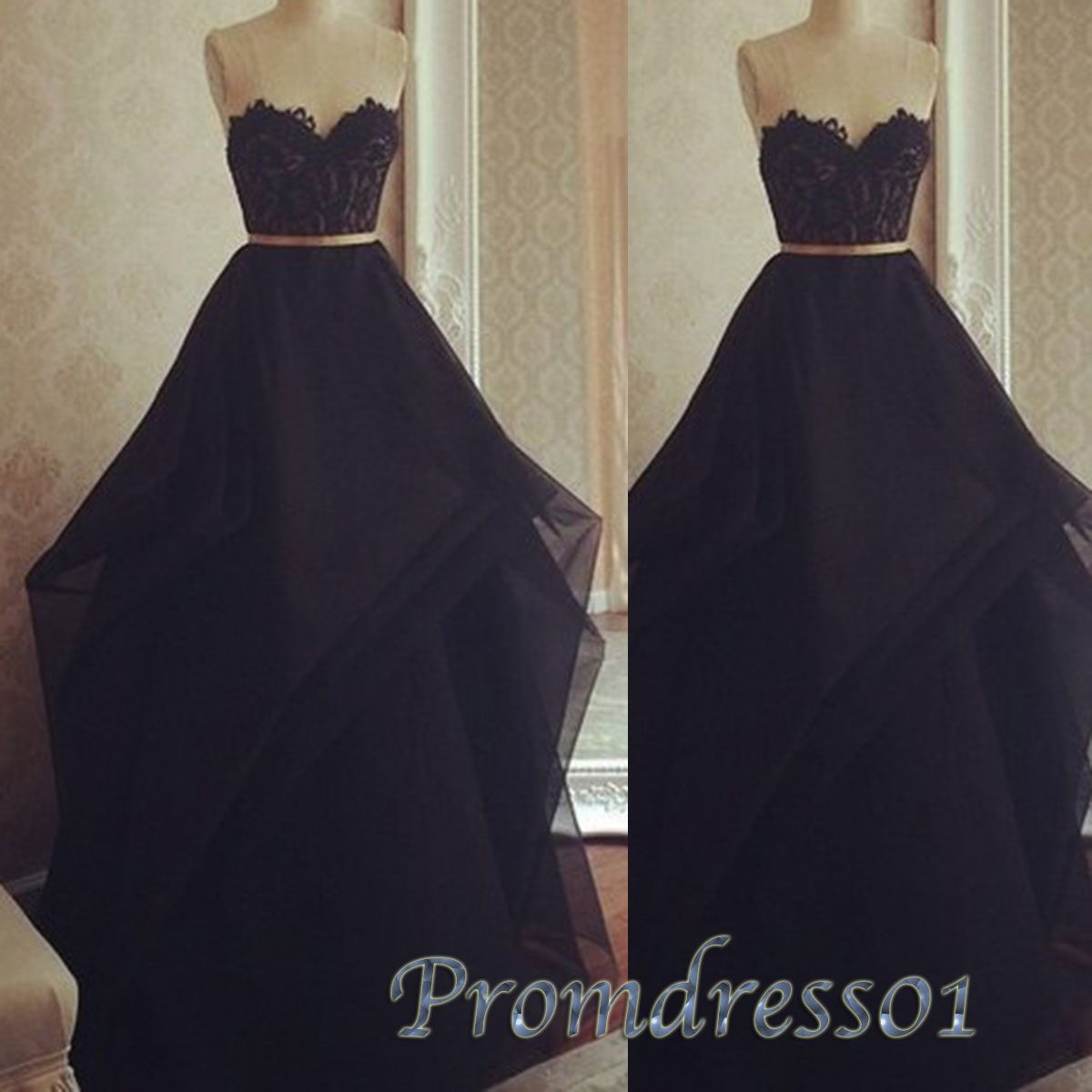 Simple black lace chiffon sweetheart long evening dress for teens