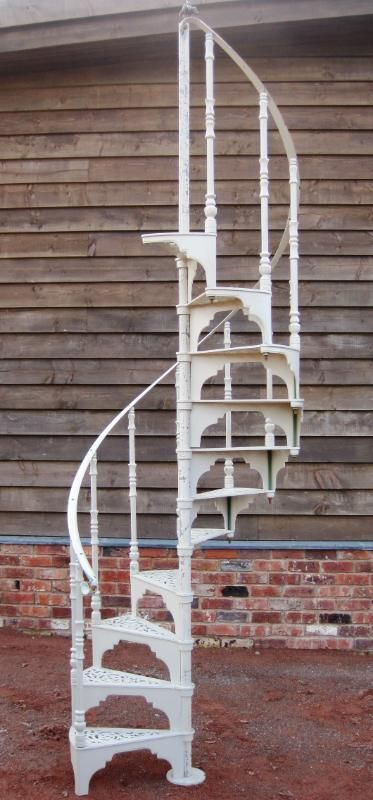 Cast Metal Reclaimed Spiral Staircase Painted Cream Spiral Stairs   Iron Spiral Staircase For Sale   Round   Abandoned   Antique   Grey Exterior   Loft