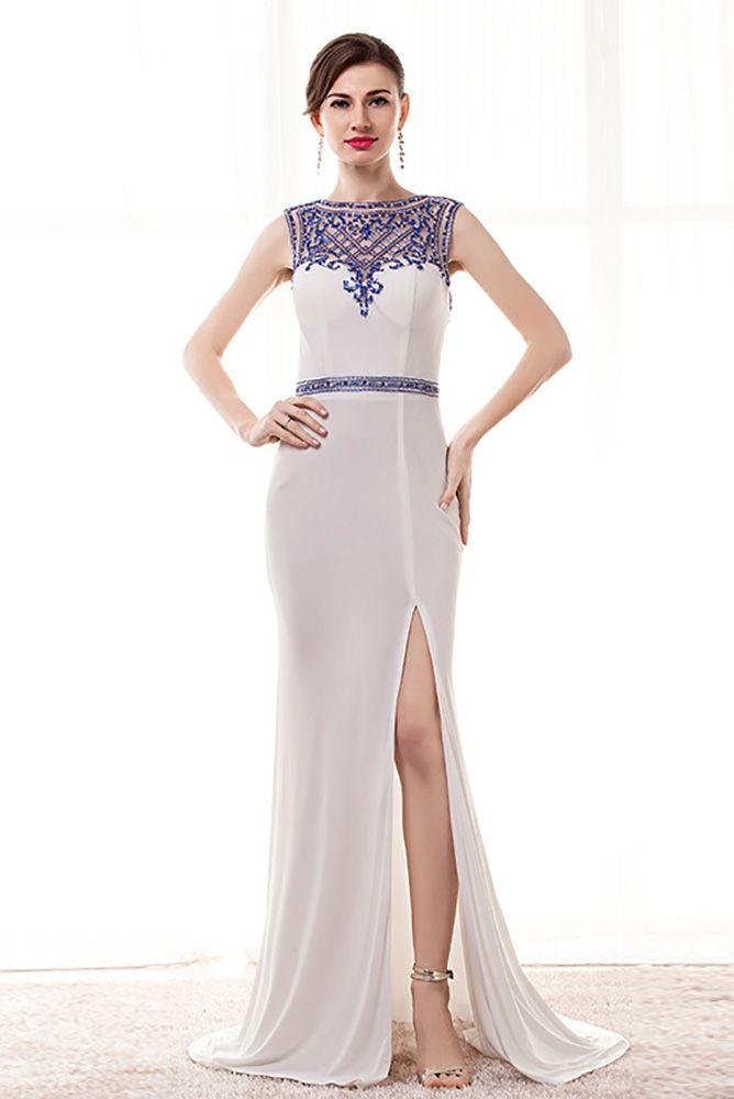 Tight Mermaid Slit White Prom Dress With Blue Beading #H76048 ...