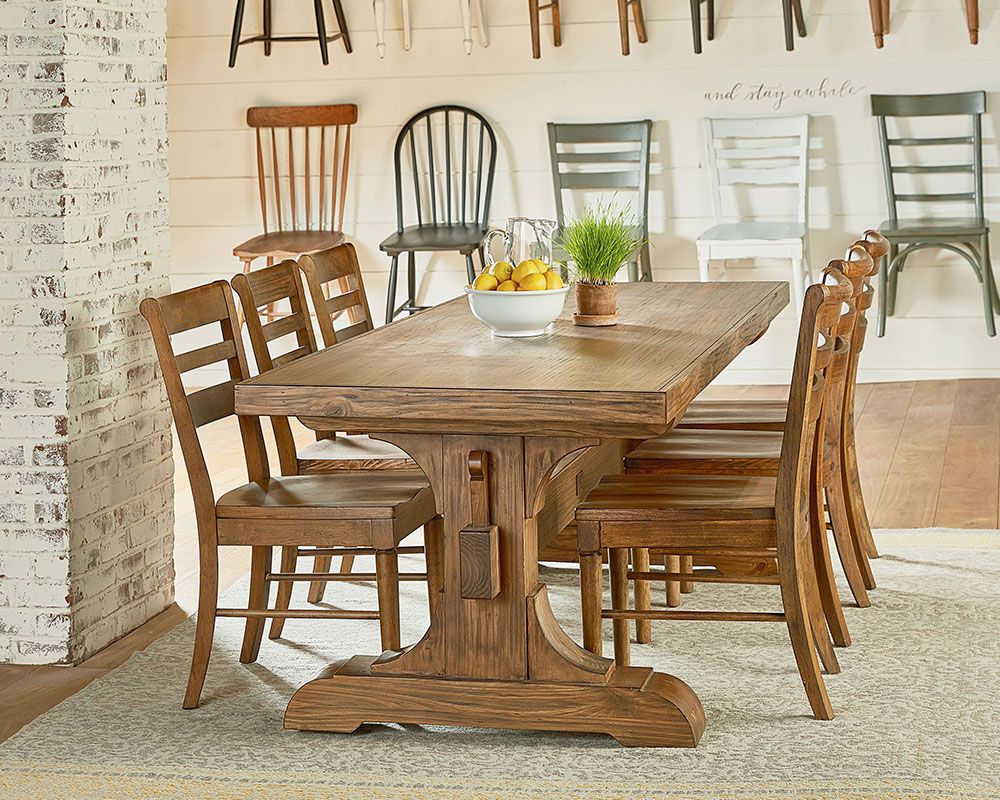 Magnolia Home Farmhouse Keyed Trestle Dining Table Setting - Chantilly distressed dining table by little tree furniture