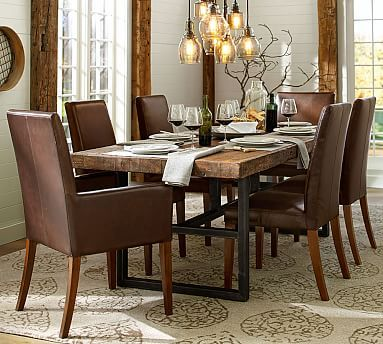 Griffin Fixed Dining Table Grayson Side Chair Cognac