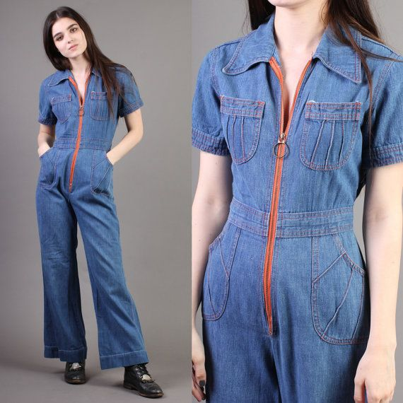 b03a87cd2d4 vintage JEAN blue boho DENIM JUMPSUIT hippie catsuit pockets one piece  jumper 1970s 70s extra small xs