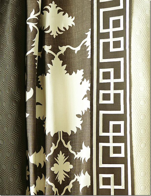 greek key fabric trim for curtains in gray
