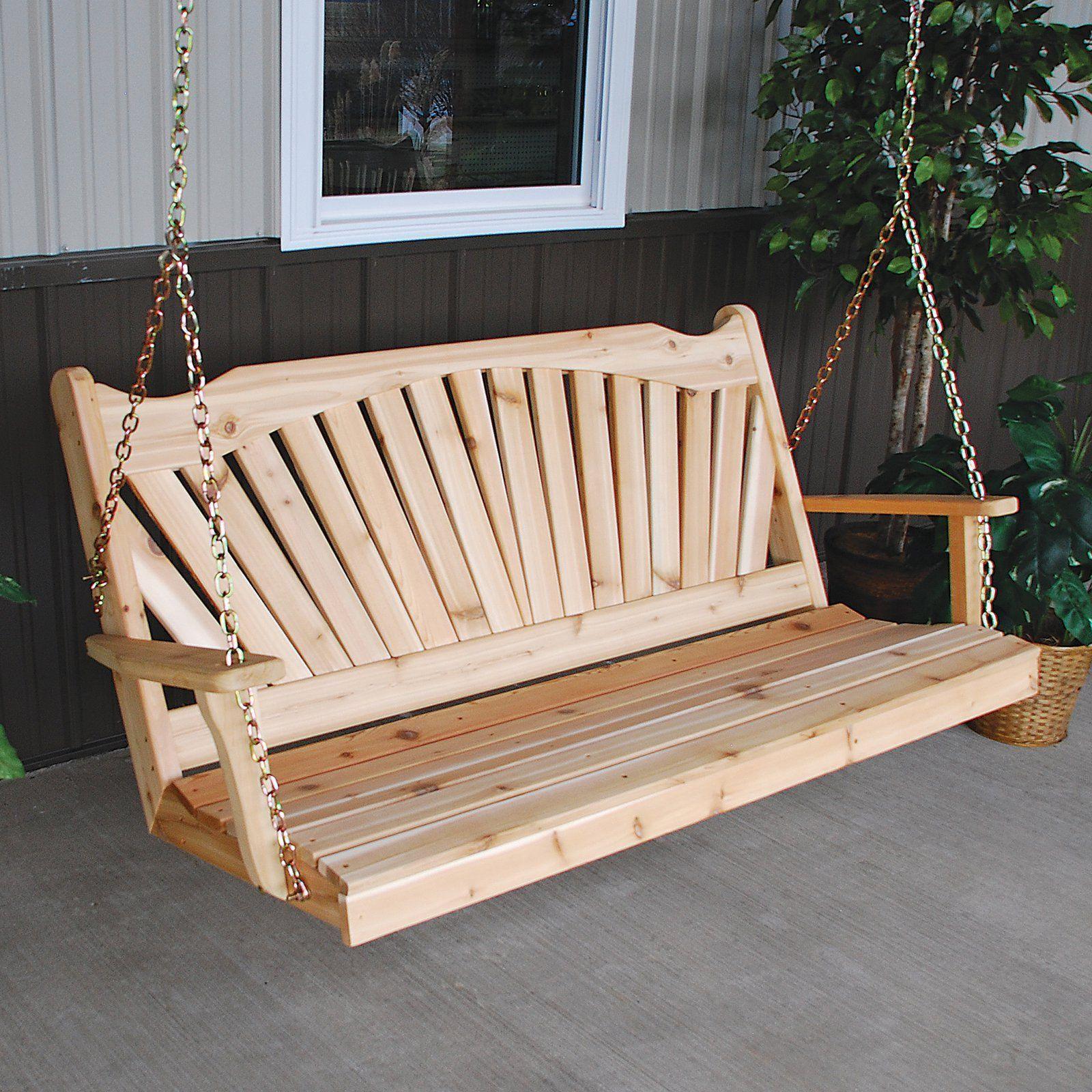 A L Furniture Fanback Western Red Cedar Porch Swing From Hayneedle Com Porch Swing Furniture Porch