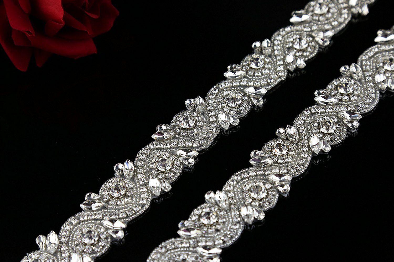 QueenDream 1 yard beaded rhinestone and pearl applique trim crystal sash applique  accessory Ladie s Craft Applique Christmas Applique belt trim    For more  ... 8bc10240d2f3