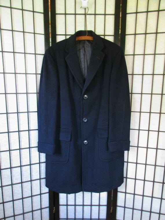 Vintage Wool Mens Coat 1950s 1960s Deep Navy Blue Robert Hall Topcoat 3 Button Notch Collar 42 44 Chest Mens Winter Topper S M Small Medium mqq3eG7