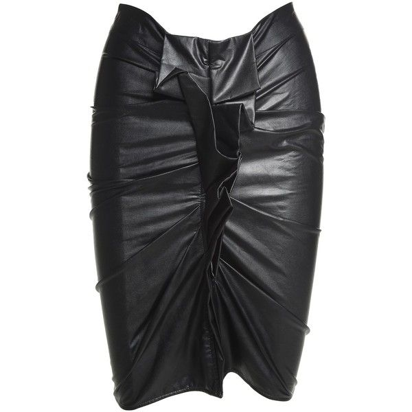 c6e2a706b Isabel Marant Étoile Zephi Ruffled Faux-Leather Skirt (£105) ❤ liked on  Polyvore featuring skirts, nero, frilled skirt, fake leather skirt, ruffle  skirt, ...