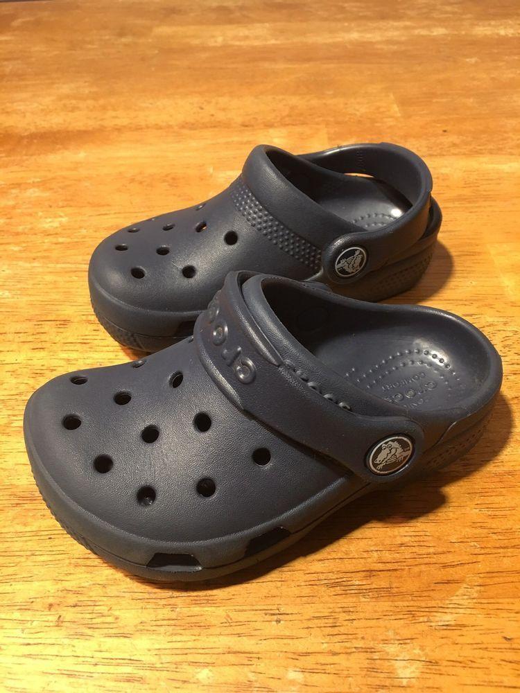 2c37793dd8e34 Boy s Toddler CROCS Blue Clogs Mules Slip On Casual Sandals Shoes - Size 8