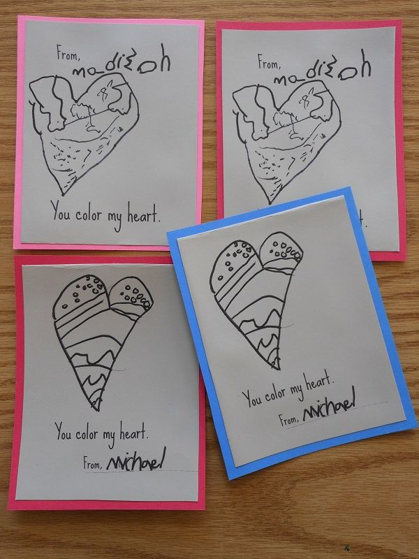 you color my heart diy valentine cards for kids - Homemade Valentine Cards For Kids