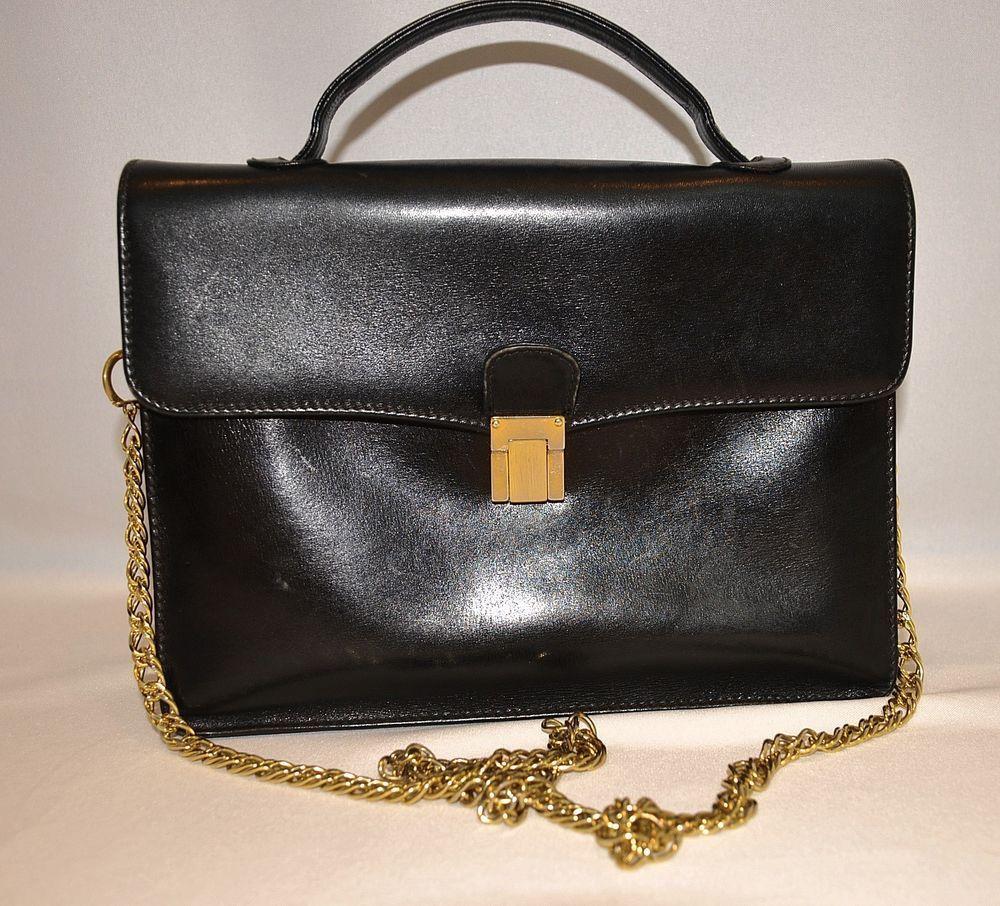 Vintage Gucci Black Leather Handbag Flat Purse Double Gg Logo Gold Chain Strap