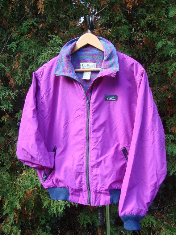 90s LL Bean Aztec Fleece Lined vintage windbreaker jacket Womens ... 64ba9fee60